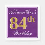 [ Thumbnail: Elegant Purple, Faux Gold 84th Birthday + Name Paper Napkin ]