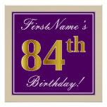 [ Thumbnail: Elegant, Purple, Faux Gold 84th Birthday + Name Poster ]