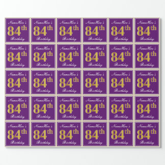Elegant, Purple, Faux Gold 84th Birthday + Name Wrapping Paper