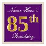 [ Thumbnail: Elegant, Purple, Faux Gold 85th Birthday + Name Invitation ]