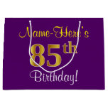 [ Thumbnail: Elegant, Purple, Faux Gold 85th Birthday + Name Gift Bag ]