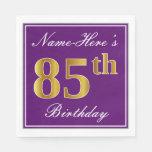 [ Thumbnail: Elegant Purple, Faux Gold 85th Birthday + Name Napkin ]
