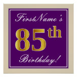 [ Thumbnail: Elegant, Purple, Faux Gold 85th Birthday + Name Poster ]