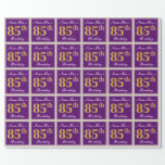 [ Thumbnail: Elegant, Purple, Faux Gold 85th Birthday + Name Wrapping Paper ]