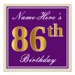 [ Thumbnail: Elegant, Purple, Faux Gold 86th Birthday + Name Invitation ]