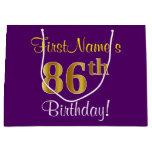 [ Thumbnail: Elegant, Purple, Faux Gold 86th Birthday + Name Gift Bag ]