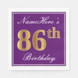 [ Thumbnail: Elegant Purple, Faux Gold 86th Birthday + Name Napkin ]