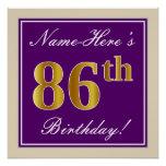 [ Thumbnail: Elegant, Purple, Faux Gold 86th Birthday + Name Poster ]