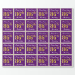 [ Thumbnail: Elegant, Purple, Faux Gold 86th Birthday + Name Wrapping Paper ]