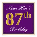 [ Thumbnail: Elegant, Purple, Faux Gold 87th Birthday + Name Invitation ]
