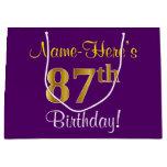 [ Thumbnail: Elegant, Purple, Faux Gold 87th Birthday + Name Gift Bag ]