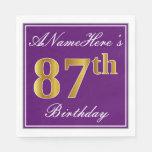 [ Thumbnail: Elegant Purple, Faux Gold 87th Birthday + Name Napkin ]