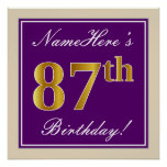 [ Thumbnail: Elegant, Purple, Faux Gold 87th Birthday + Name Poster ]