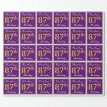 [ Thumbnail: Elegant, Purple, Faux Gold 87th Birthday + Name Wrapping Paper ]