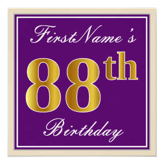 Elegant, Purple, Faux Gold 88th Birthday + Name Card