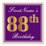 [ Thumbnail: Elegant, Purple, Faux Gold 88th Birthday + Name Invitation ]