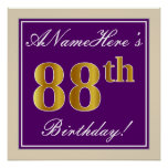 [ Thumbnail: Elegant, Purple, Faux Gold 88th Birthday + Name Poster ]
