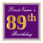 [ Thumbnail: Elegant, Purple, Faux Gold 89th Birthday + Name Invitation ]