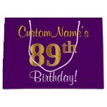 [ Thumbnail: Elegant, Purple, Faux Gold 89th Birthday + Name Gift Bag ]