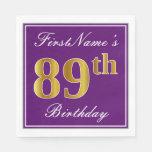 [ Thumbnail: Elegant Purple, Faux Gold 89th Birthday + Name Paper Napkin ]