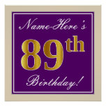 [ Thumbnail: Elegant, Purple, Faux Gold 89th Birthday + Name Poster ]