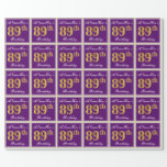 [ Thumbnail: Elegant, Purple, Faux Gold 89th Birthday + Name Wrapping Paper ]