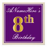 [ Thumbnail: Elegant, Purple, Faux Gold 8th Birthday + Name Invitation ]