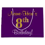 [ Thumbnail: Elegant, Purple, Faux Gold 8th Birthday + Name Gift Bag ]