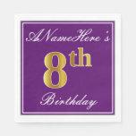 [ Thumbnail: Elegant Purple, Faux Gold 8th Birthday + Name Napkin ]
