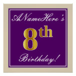 [ Thumbnail: Elegant, Purple, Faux Gold 8th Birthday + Name Poster ]