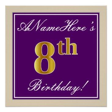 Art Themed Elegant, Purple, Faux Gold 8th Birthday   Name Poster