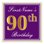 [ Thumbnail: Elegant, Purple, Faux Gold 90th Birthday + Name Invitation ]
