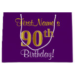 [ Thumbnail: Elegant, Purple, Faux Gold 90th Birthday + Name Gift Bag ]