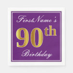 [ Thumbnail: Elegant Purple, Faux Gold 90th Birthday + Name Paper Napkin ]