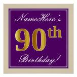 [ Thumbnail: Elegant, Purple, Faux Gold 90th Birthday + Name Poster ]