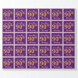 [ Thumbnail: Elegant, Purple, Faux Gold 90th Birthday + Name Wrapping Paper ]