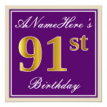 [ Thumbnail: Elegant, Purple, Faux Gold 91st Birthday + Name Invitation ]