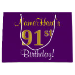 [ Thumbnail: Elegant, Purple, Faux Gold 91st Birthday + Name Gift Bag ]