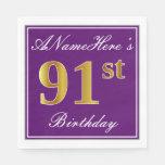 [ Thumbnail: Elegant Purple, Faux Gold 91st Birthday + Name Napkin ]