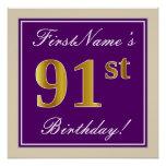 [ Thumbnail: Elegant, Purple, Faux Gold 91st Birthday + Name Poster ]