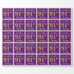 [ Thumbnail: Elegant, Purple, Faux Gold 91st Birthday + Name Wrapping Paper ]