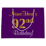 [ Thumbnail: Elegant, Purple, Faux Gold 92nd Birthday + Name Gift Bag ]