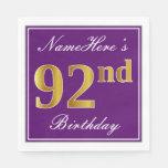 [ Thumbnail: Elegant Purple, Faux Gold 92nd Birthday + Name Paper Napkin ]
