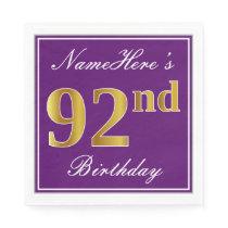 Elegant Purple, Faux Gold 92nd Birthday   Name Paper Napkin