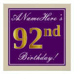 [ Thumbnail: Elegant, Purple, Faux Gold 92nd Birthday + Name Poster ]