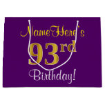 [ Thumbnail: Elegant, Purple, Faux Gold 93rd Birthday + Name Gift Bag ]