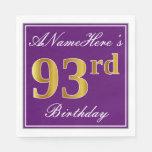 [ Thumbnail: Elegant Purple, Faux Gold 93rd Birthday + Name Paper Napkin ]