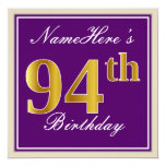 [ Thumbnail: Elegant, Purple, Faux Gold 94th Birthday + Name Invitation ]