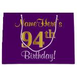 [ Thumbnail: Elegant, Purple, Faux Gold 94th Birthday + Name Gift Bag ]