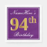 [ Thumbnail: Elegant Purple, Faux Gold 94th Birthday + Name Paper Napkin ]